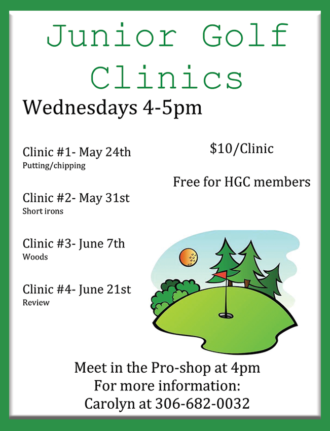 Jr. Golf Clinic Times 2018